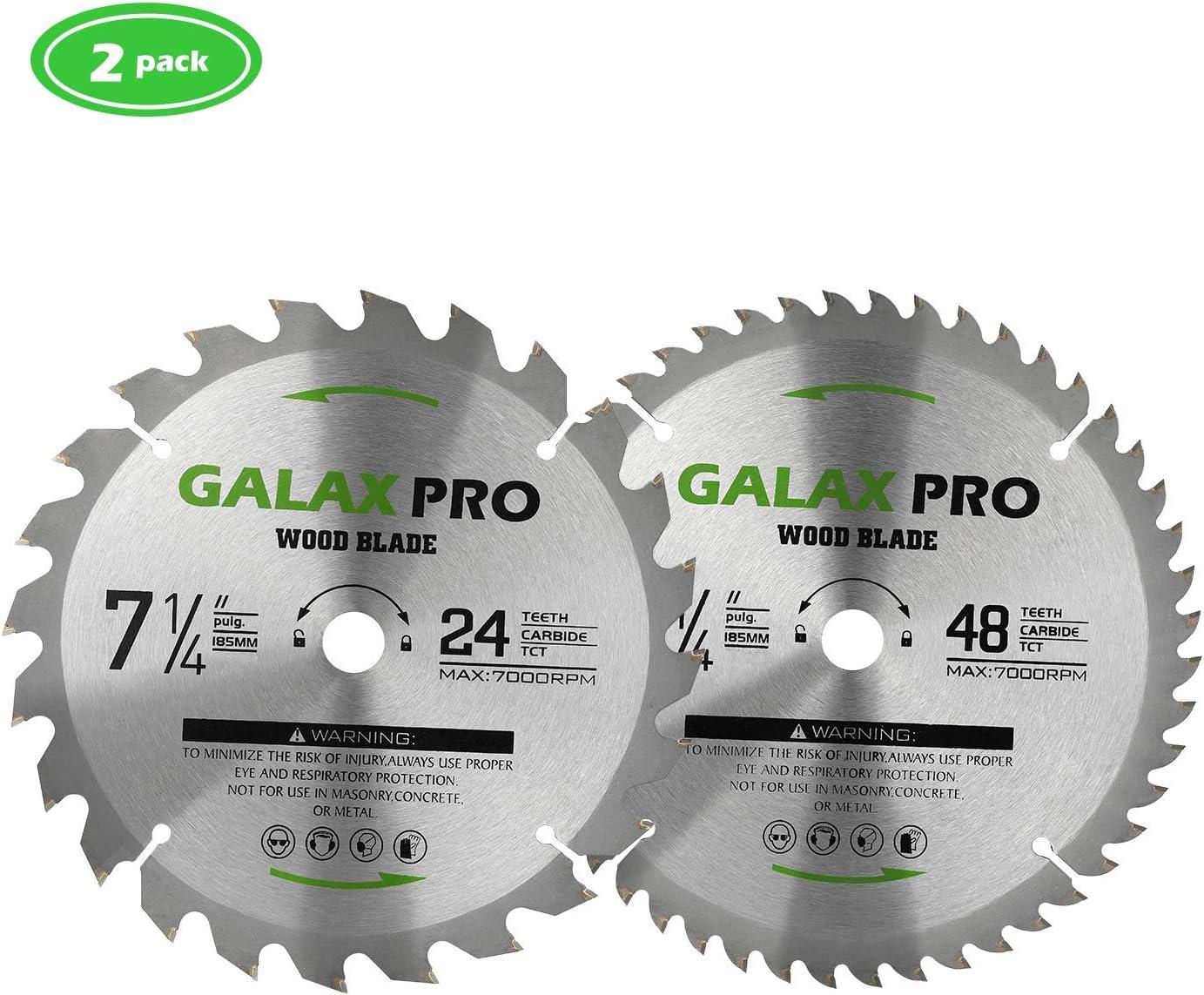 GALAX PRO Hoja de Sierra Circular 24tTCT*1, 48tTCT*1, Para cortar madera, 185mm*20mm(pack de 2)