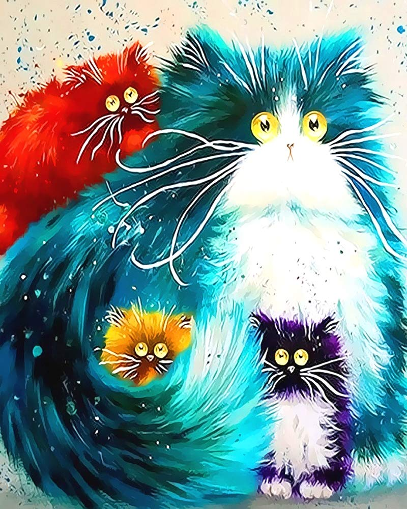 "iCoostor Wooden Framed Paint by Numbers DIY Acrylic Painting Kit for Kids & Adults Beginner – 16"" x 20"" Four Color Cat Pattern with 3 Brushes & Bright Colors…"
