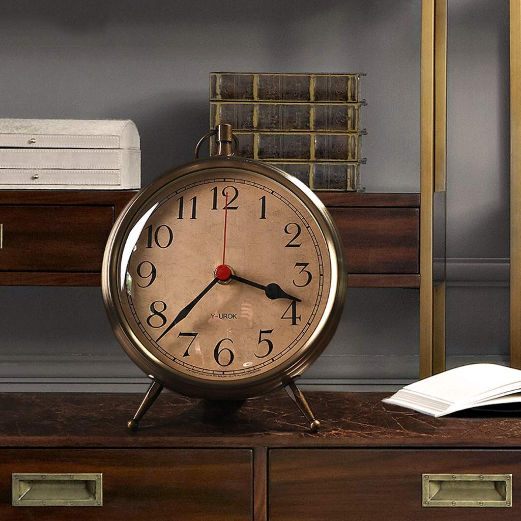 CXQ Modern European Style Desk Clock Bedroom Silent Mute Clock Home Gold Clock by CXQ (Image #4)