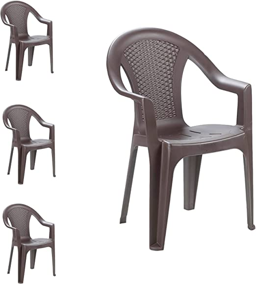 FineHome - Juego de 4 sillas apilables para jardín (Aspecto de ...