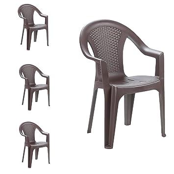 4 pieza silla apilable silla de jardín Bistro Jardín Silla apilable ...