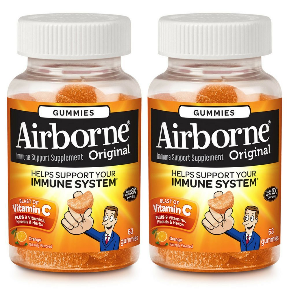 Airborne Orange Flavored Gummies, 63 Count - 1000mg of Vitamin C and Minerals & Herbs Immune Support (Pack of 2) by Airborne