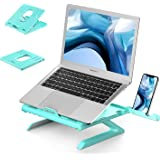 Laptop Stand Ergonomic, Jelly Comb Multi-Angle Adjustable Laptop Riser with Built-in Foldable Legs and Phone Holder, Ventilated Notebook Stand Tray for MacBook, Desktop Computer, Tablet - Green
