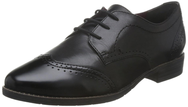 Tamaris 23202, Zapatos de Cordones Oxford para Mujer 37 EU|Negro (Blk Lea/Brush)