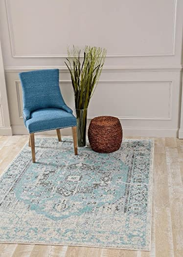 Persian-Rugs 781 Distressed Blue 8×10 Area Rug Carpet Large New