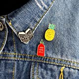 3pcs/Set Cartoon Pineapple EAT Your Fruit ADD More Spice Read More Brooch Denim Jacket Pin Badge Fashion Jewelry Gift for Kids