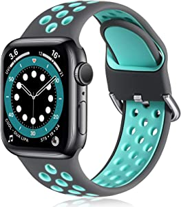 Witzon Compatible with Apple Watch Band 38mm 40mm Soft Silicone Waterproof Breathable Replacement Wristband Sport Bands for iWatch Series 1/2/3/4/5/6/SE Women Men, Grey Teal, S/M