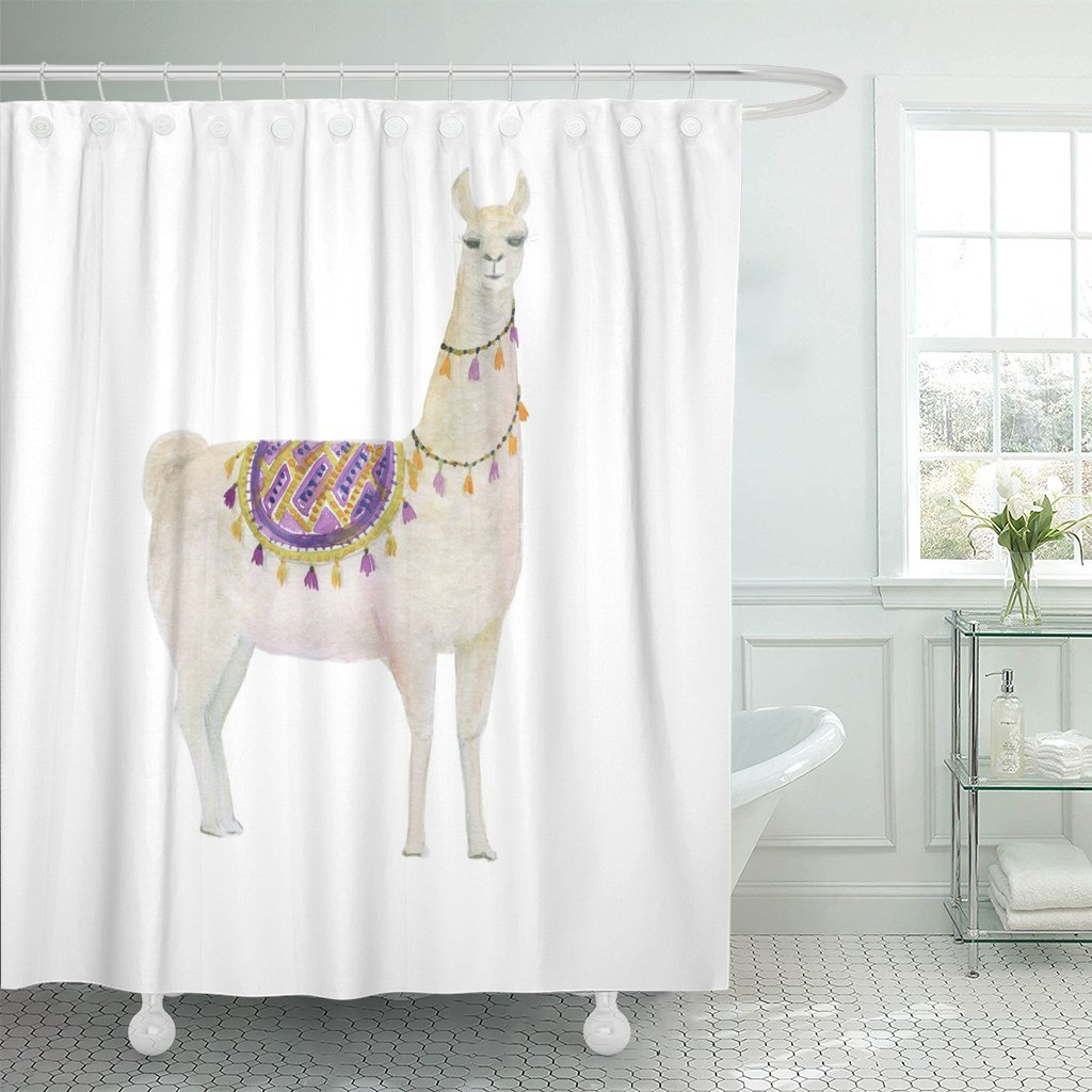 Emvency Shower Curtain Cute Watercolor Painting White Llama Alpaca America Animal Baby Waterproof Polyester Fabric 72 x 78 inches Set with Hooks by Emvency (Image #1)