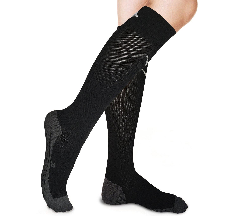 Graduado calcetines de compresión–alivia dolor en la pierna, aumentar la circulación, reducir la hinchazón–Ideal para viaje deportes enfermeras embarazo artritis venas varicosas tablilla de running, Negro Rikedom Sports