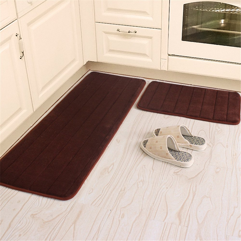 Kitchen Rugs, CAMAL 2 Pieces Non-Slip Memory Foam Stripe Kitchen Mat Rubber Backing Doormat Runner Rug Set (16x24+16x48, Brown)
