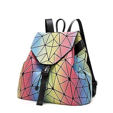 Women Laser Backpack For Teenage Girls Drawstring Fold Geometry Mirror Schoolbags Backpack Holograph School Bags Mochila