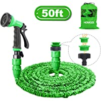 "HOMOZE 50ft Expandable Garden Water Hose Pipe with 1"", 3/4"", 1/2"" Fittings, Anti-leakage - Flexible Expanding Hose with 8 Function Spray Nozzle"