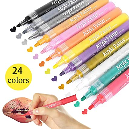 Paint Pens For Rocks Painting 24 12 Vibrant Colors Acrylic Paint Markers Pens For Ceramic Glass Wood Fabric Canvas Mugs All Surface Diy Craft