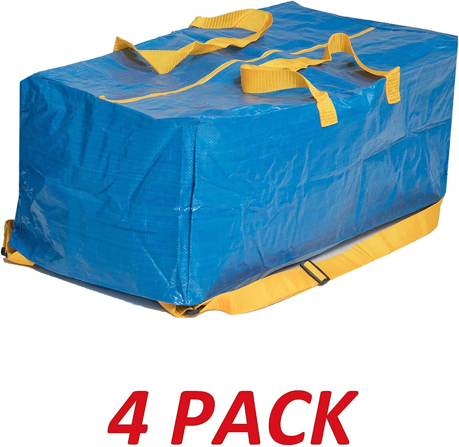 Klickpick Home Pack of 4- Heavy Duty Reusable Extra Large Storage Bags Laundry Bag Shopping Tote Moving Totes Bags Underbed Storage Bins Zipper -Backpack Handles,Compatible with IKEA FRAKTA CART