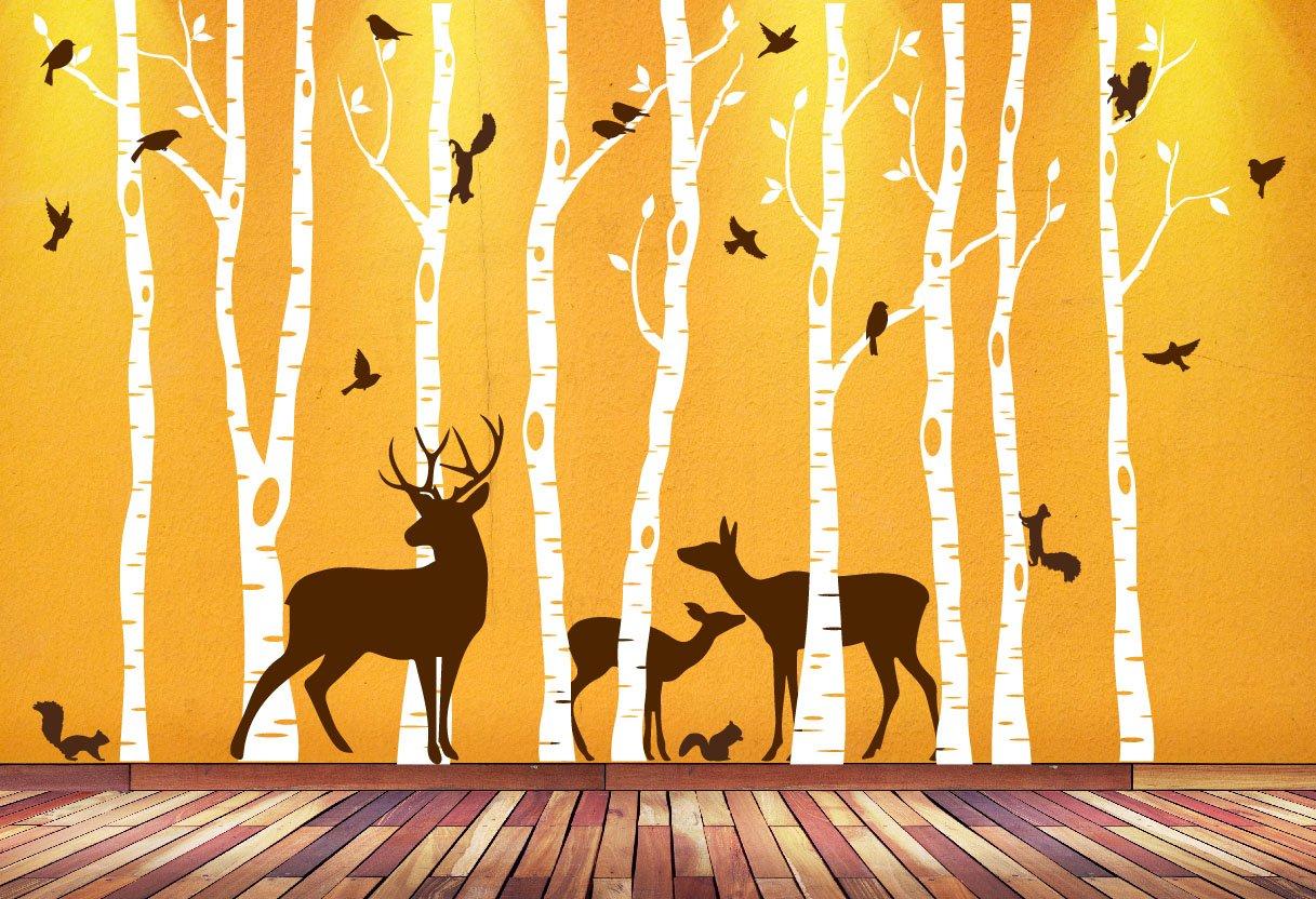 Amazon.com: Birch Tree Wall Art Decal Forest Woodland Birds Deer ...