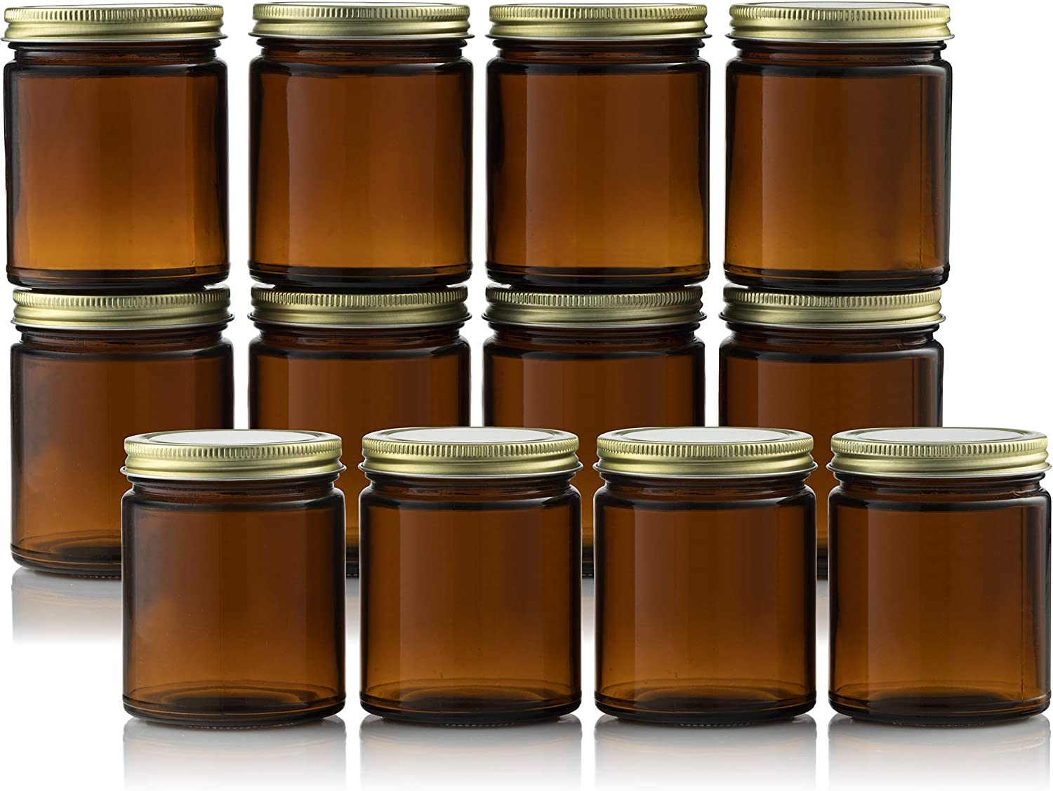Amber Glass Jars 8 Ounce for Candle Making (12 Pack) Straight Side For DIY Projects, Herbs, Homemade Cosmetics, Decorating, Storing, Overnight Oats, Meal Prep, Wedding Favors, Great For Daily Vitamins