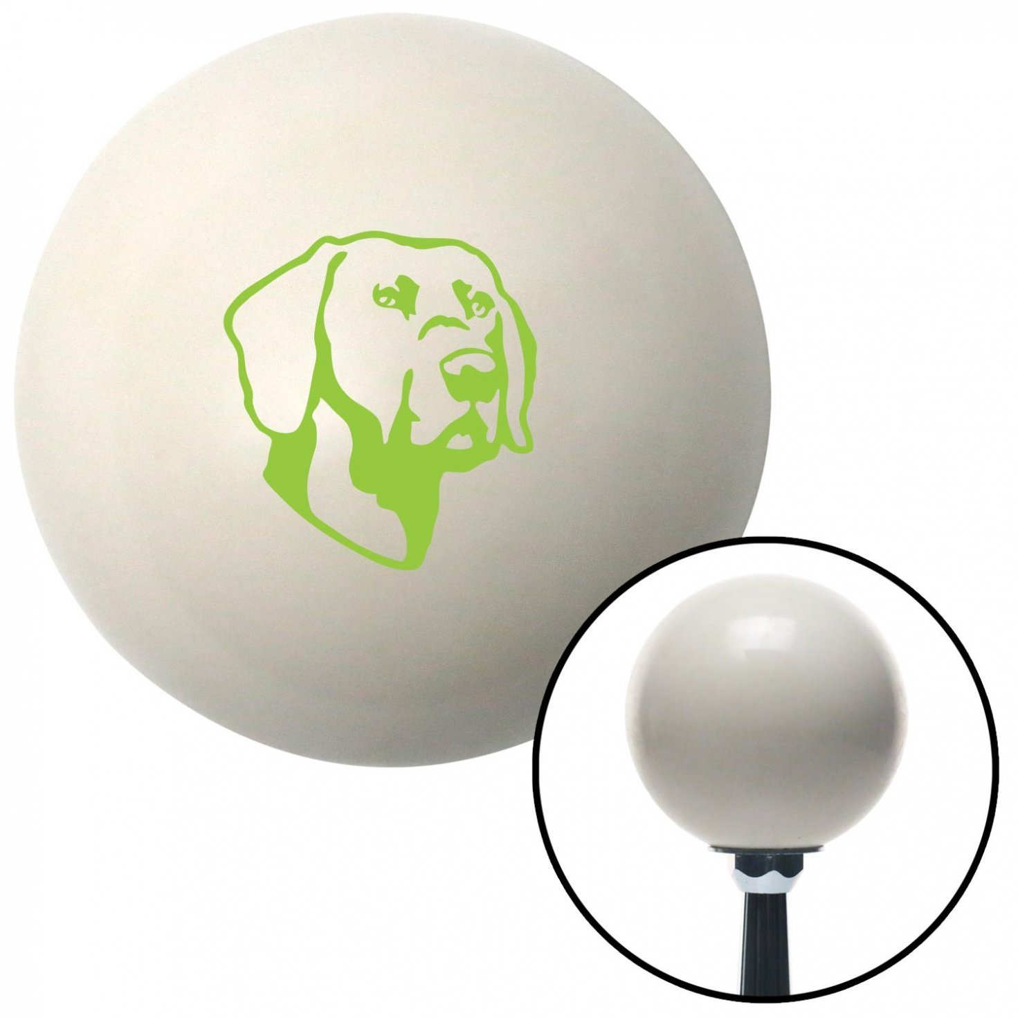 American Shifter 41140 Ivory Shift Knob with 16mm x 1.5 Insert Green Dog