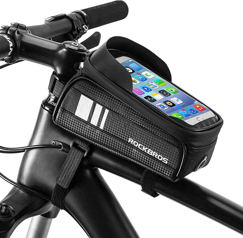 ROCKBROS Bolsa para Manillar de Bicicleta Cuadro Tubo Superior Impermeable Delantero con Pantalla Táctil para Teléfono Móvil 6,0 Pulgadas para Bicis MTB Bici de Carretera: Amazon.es: Deportes y aire libre