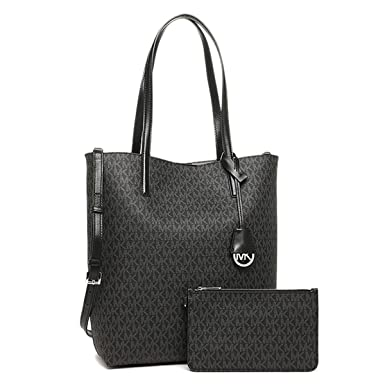 46d73585f1a8 Michael Kors Hayley Large Logo North-South Tote Crossbody Black and Grey:  Amazon.co.uk: Clothing
