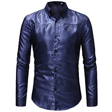 CrazyDay Mens Casual Button Down Long Sleeve Plaid Plus Size T-Shirts Shirts