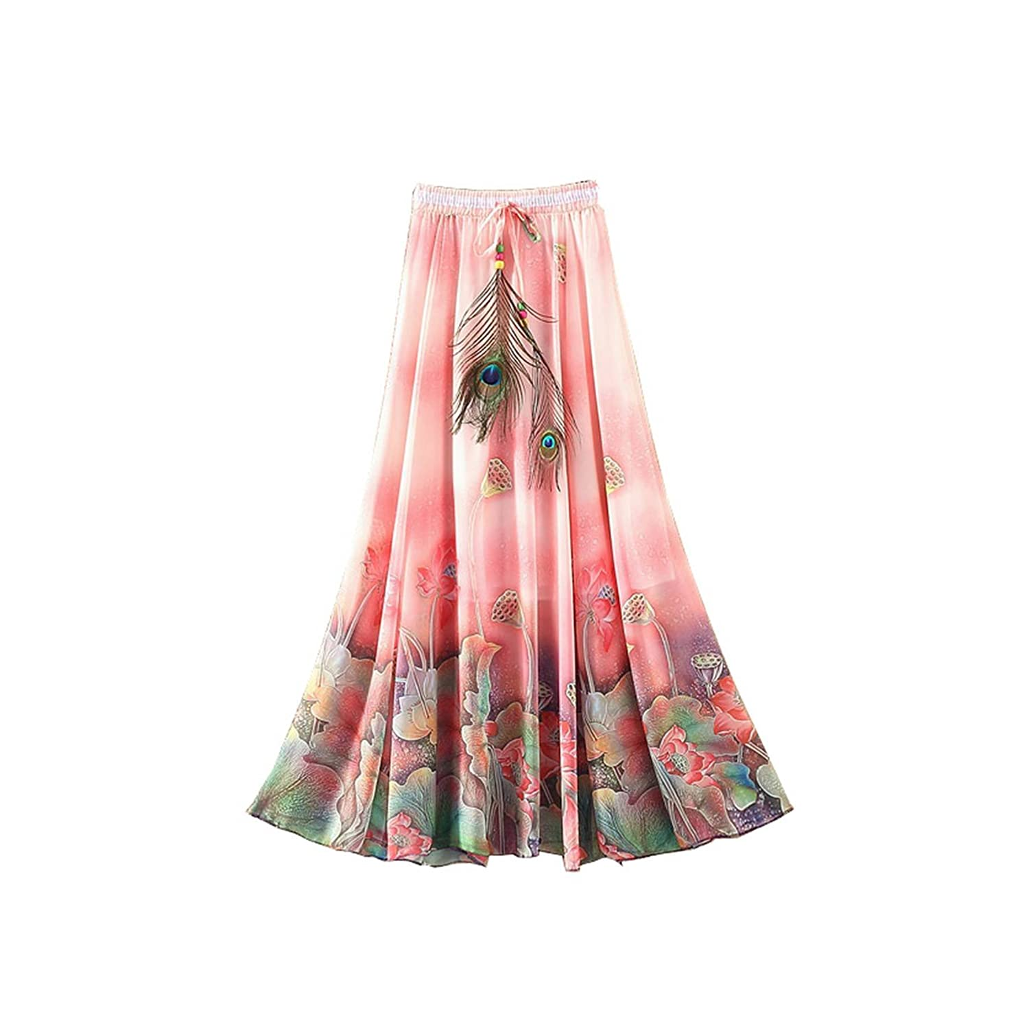 Kaxuyiiy Women's Peacock Feather Boho Lotus Flower Beach Party Maxi Long Skirt WS071