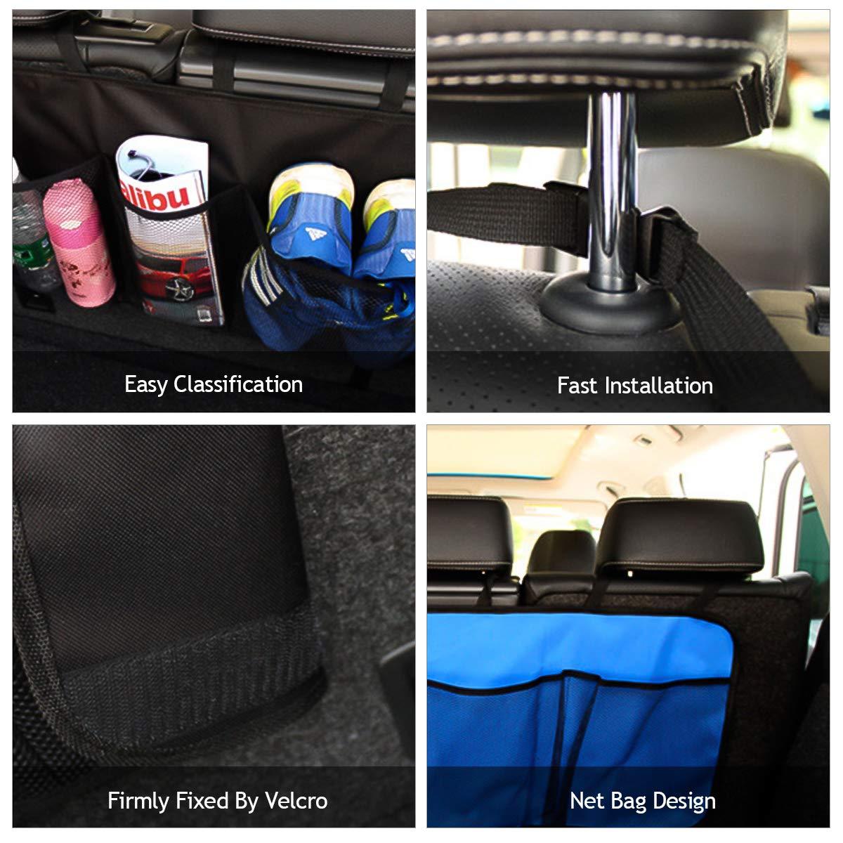 Actualizaci/ón-Azul Oscuro Oxford Cloth Trasero Almacenamiento Bolsa para Coche con M/últiples Bolsillos Organizador Multifuncional para SUV Ergocar Organizador Maletero Coche