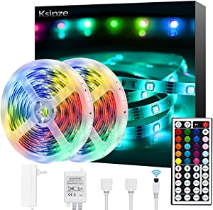 Ksipze Led Strip Lights 32.8ft Rgb Color Changing with 44 Keys Remote and 12V Power Supply for Bedroom Kitchen Home Decoration