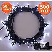 Luci natalizie 500 LED Luminoso bianco Albero luci Interni ed esterni uso Natale stringa luci memoria & timer funzioni, 50m/164ft illuminata lunghezza con cavo di piombo verde