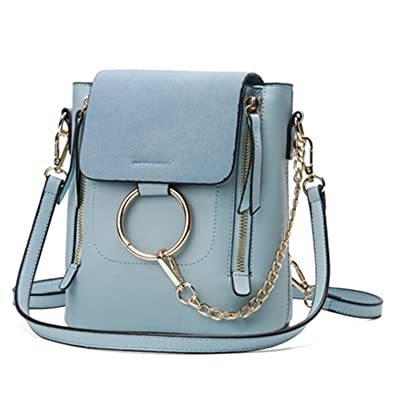 Acereima Metal Ring Shoulder Bag For Women Suede Chain Crossbody Bag Vintage Leather Bags Women Handbags