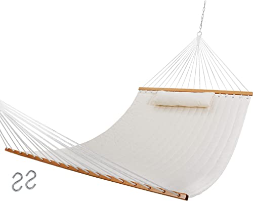 SUPER DEAL Extra Large Hammock with Pillow Waterproof UV-Resistance 2-Person Quilted Fabric Swing with Solid Wood Spreader Chains, 78 x 54.3 Beige