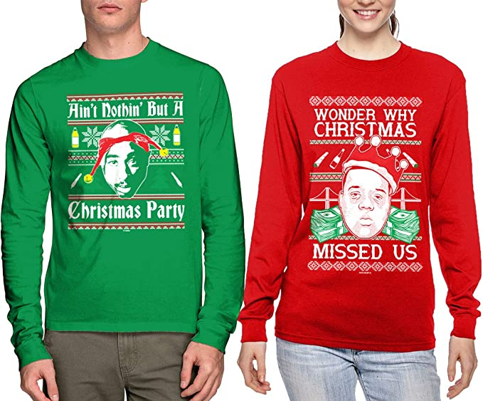 Christmas Party Iconic Rap Duo Matching Couple Crewneck Sweatshirts East//West