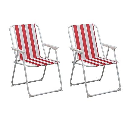 Harbour Housewares Folding Metal Beach Garden Camping Armchair Set of 2 Red//Green Stripe