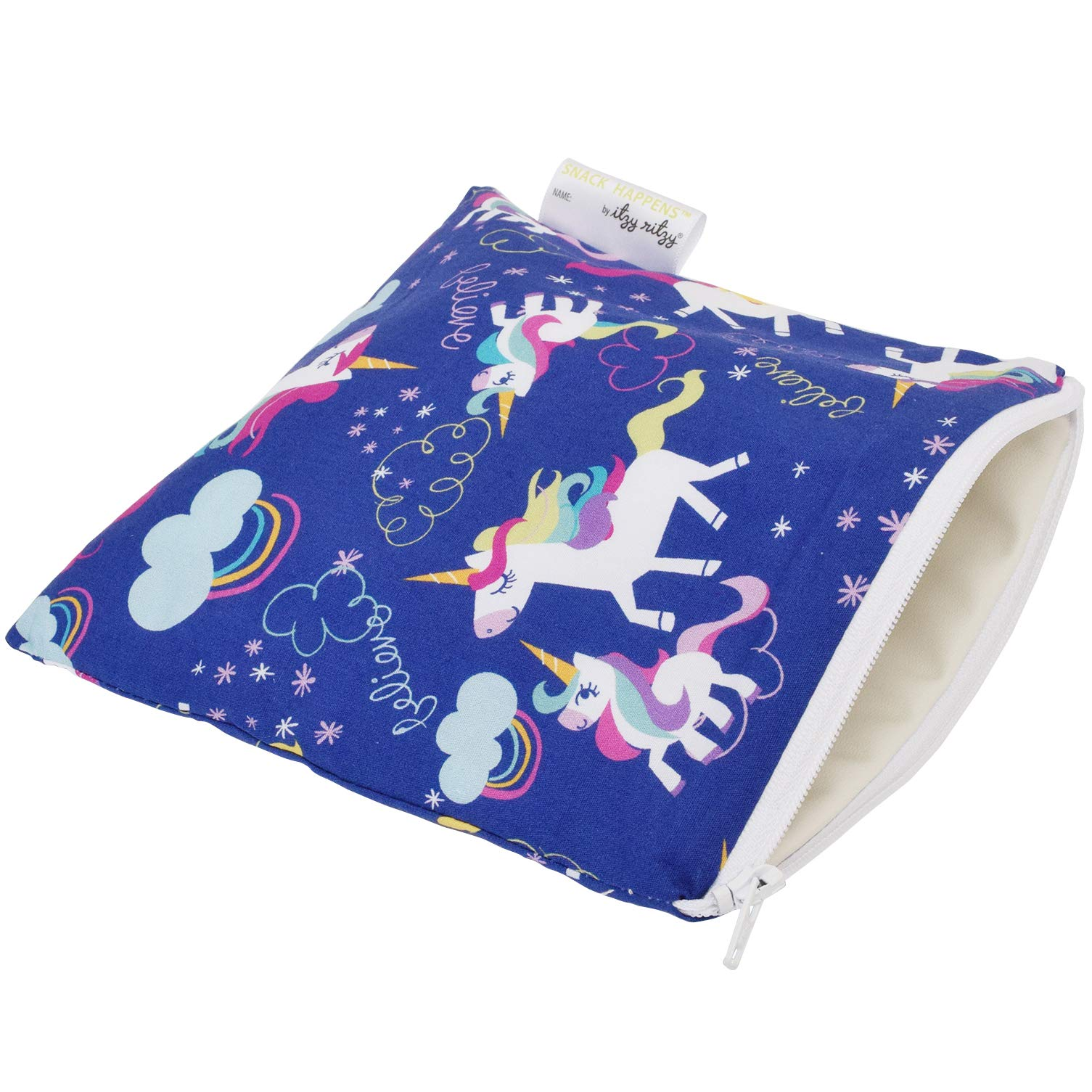 Itzy Ritzy Reusable Snack Bag - 7'' x 7'' BPA-Free Snack Bag is Food Safe, Washable and Ideal for Storing Snacks, Pacifiers, Electronics and Makeup in a Diaper Bag, Purse or Travel Bag, Unicorn Dreams by Itzy Ritzy