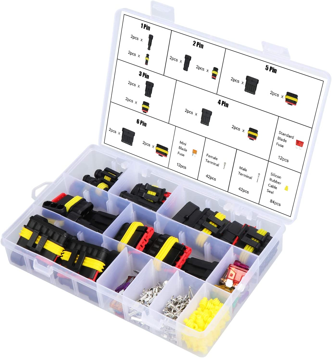 240Pcs Car Electrical Wire Connector with Terminal and Fuses Box Assortment Kit for Vehicle Motorcycle Auto 1 2 3 4 5 6 Pin Plug