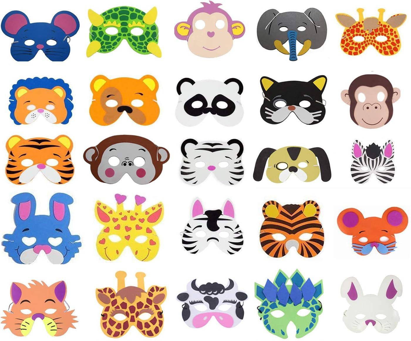Cosoro - 25 máscaras de animales de espuma EVA para bolsas de fiesta, baile de máscaras, fiestas de cumpleaños, Navidad, Halloween