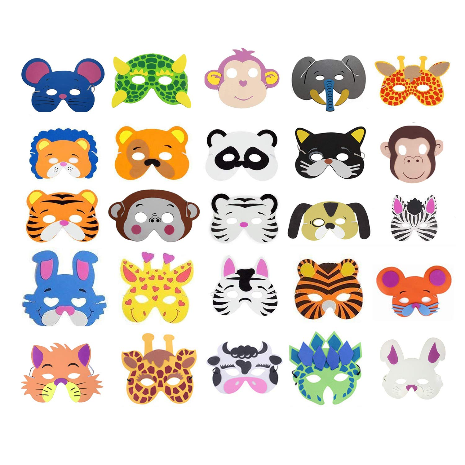 COSORO 25 Kids Eva Foam Animal Masks for Party Bag Fillers, Masquerade, Birthday Party, Christmas, Halloween