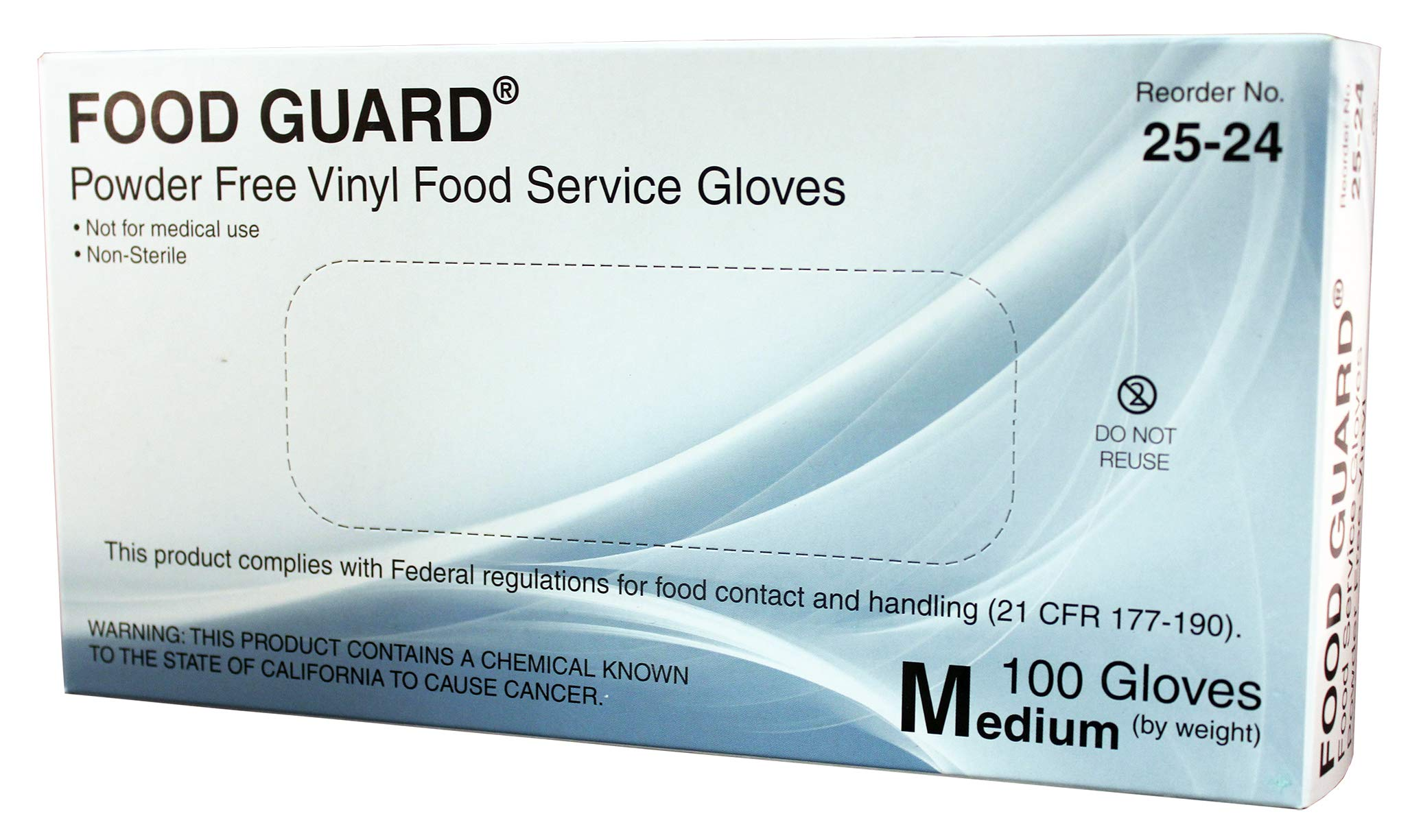 Food Guard Food Service Glove Vinyl Powder Free X-Large 25-28 10 Boxes, 100 /Box