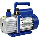 "ZENY 3,5CFM Single-Stage 5 Pa Rotary Vane Economy Vacuum Pump 3 CFM 1/4HP Air Conditioner Refrigerant HVAC Air tool R410a 1/4"" Flare Inlet Port, Blue"