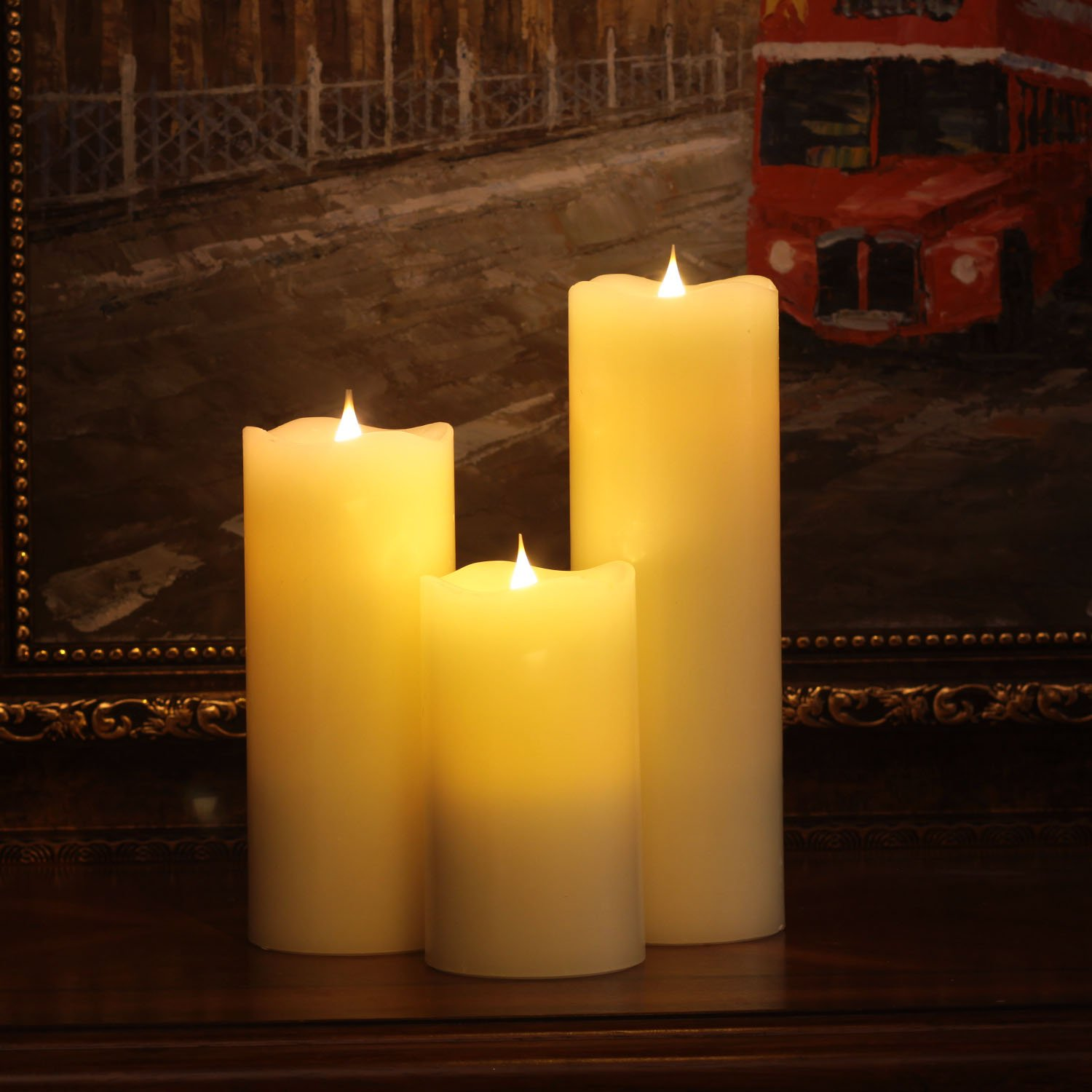 3D Flameless Led Candle with Timer Ivory GiveU 6952303816298 Moving Wick Pillar Candle for Home Decoration 3.75x6.5 Inch