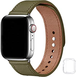 Soft Leather Bands Compatible with Apple Watch Band 38mm 40mm 42mm 44mm, Special Watch Band Replacement Strap for Women Men for iWatch SE Series 6 5 4 3 2 1(Army Green with Silver, 38MM/40MM)