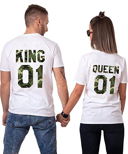 96112024f9d1 King Queen Shirts Couple Apparel Camouflage Matching Couples T-Shirt Cotton  Gift(King-