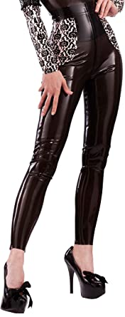 Bordelle-L/'Amour Smoochy Latex Leggings Semi-Trans Black with Baby Pink Trim.