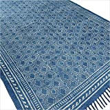 Eyes of India – 4 X 6 ft Indigo Blue Cotton Block Print Accent Area Dhurrie Rug Flat Weave Hand Woven Boho Chic Indian Bohemian Review