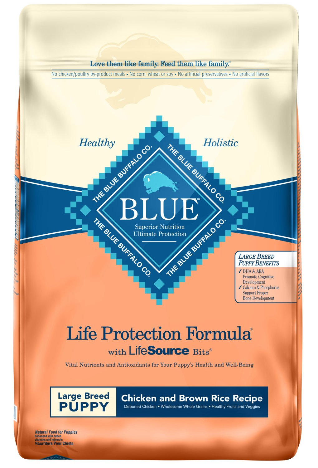 Blue Buffalo Life Protection Formula Natural Puppy Large Breed Dry Dog Food, Chicken and Brown Rice 30-lb