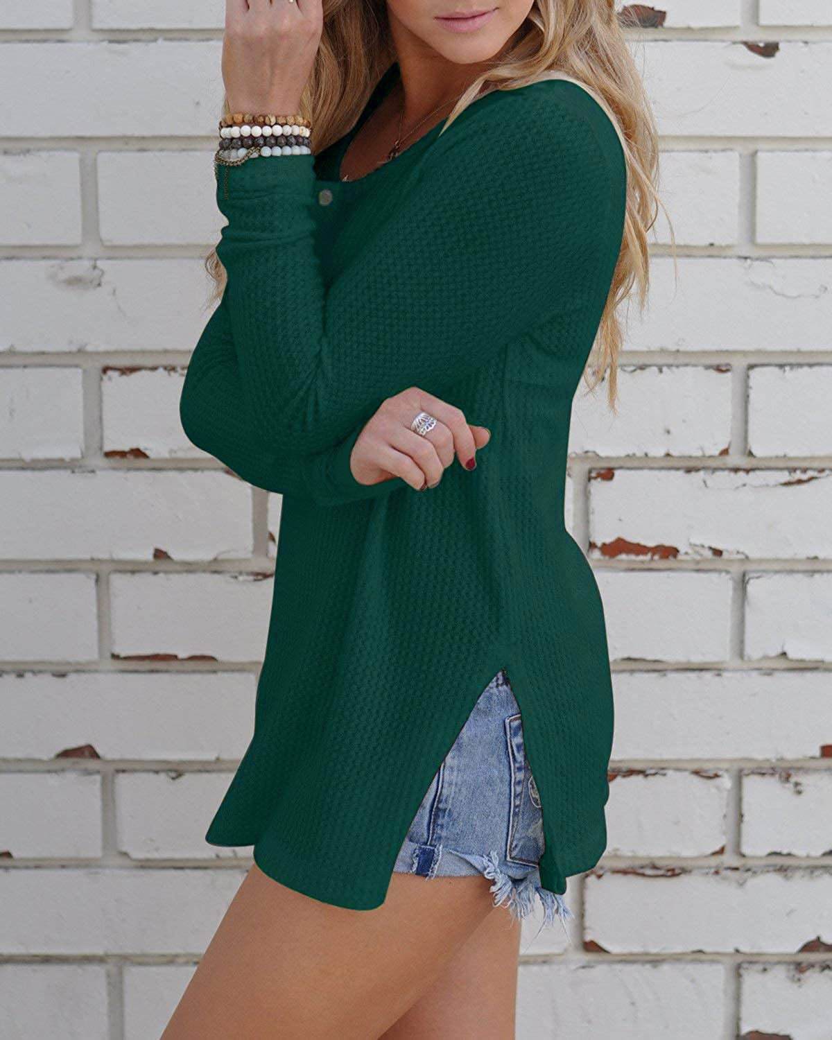 863f85f8818c ALALEI Womens Long Sleeve Henley Blouse Fall Button Down Pullover Knit  Loose Leisure Stylish Sexy Knit Sweaters Tops at Amazon Women s Clothing  store