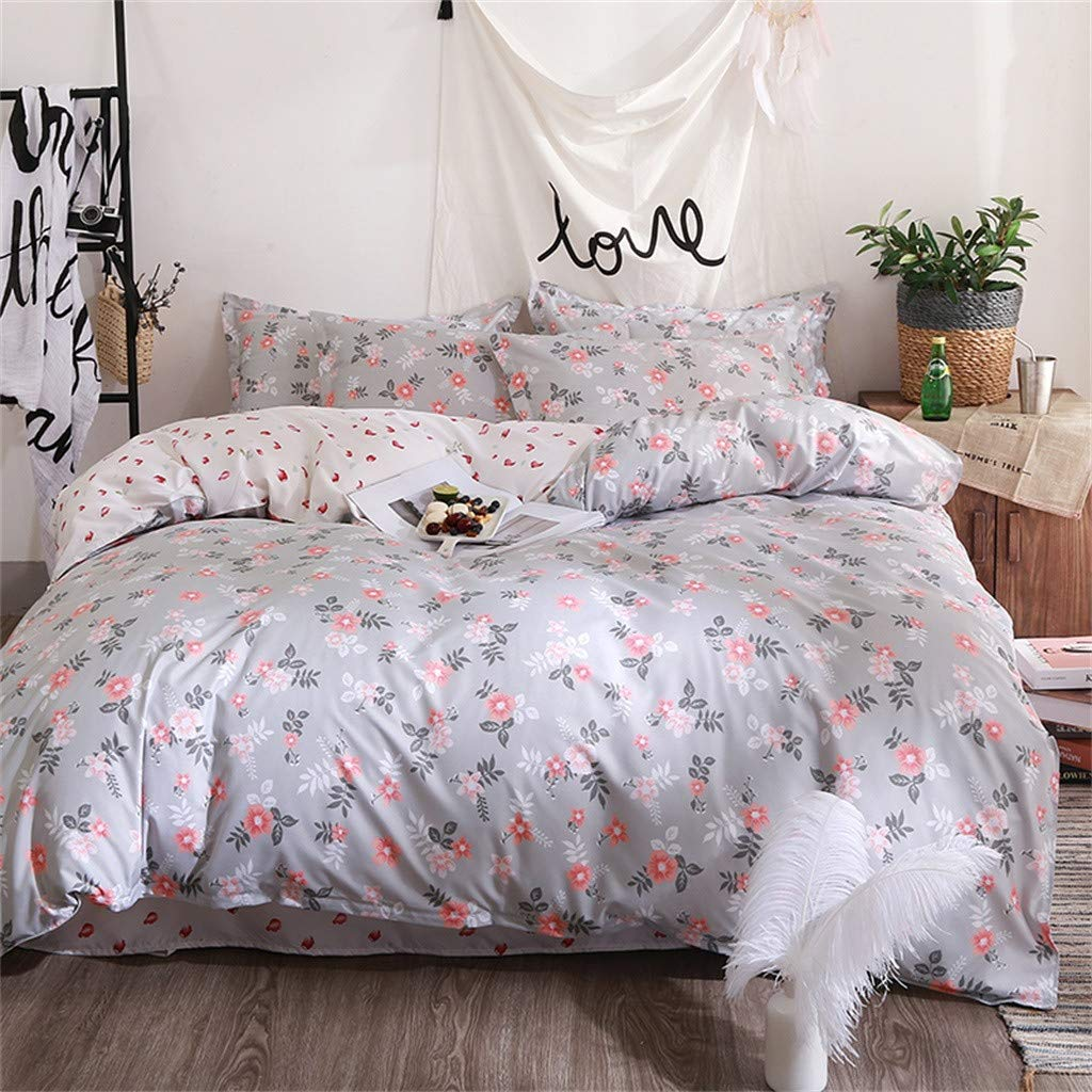 Beyonds Pure Soft 4 Piece Bed Set Deep Pockets Bedding Set Includes x1 Duvet Cover x2 Pillowcases and x1 Fitted Sheet - Soft Polyester Fabric- Home School Bed Decor