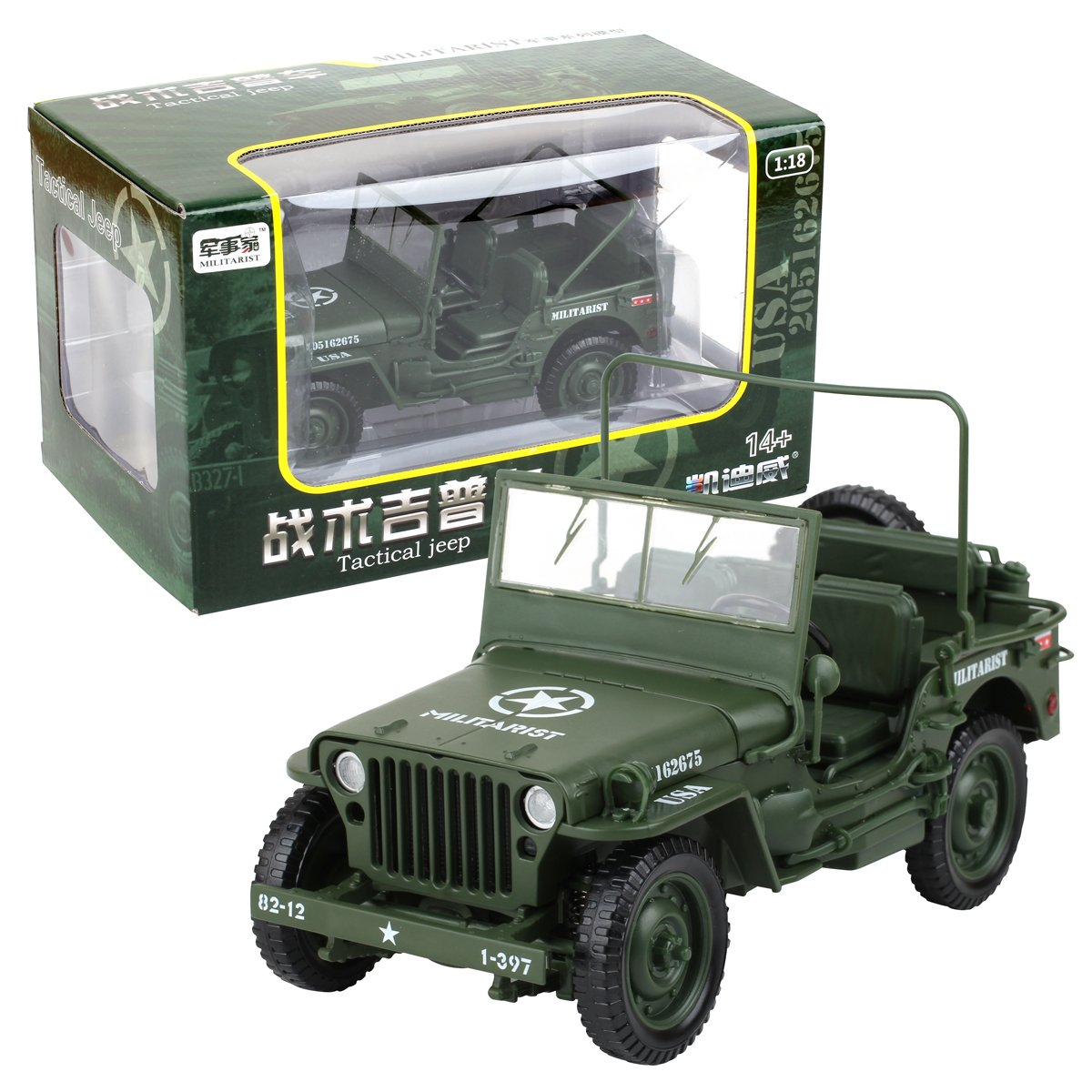 Kaidiwei 1 18 Scale Diecast Model Willys Jeep Military Jeeps On Filter Box Us Army Vehicle Toys Games