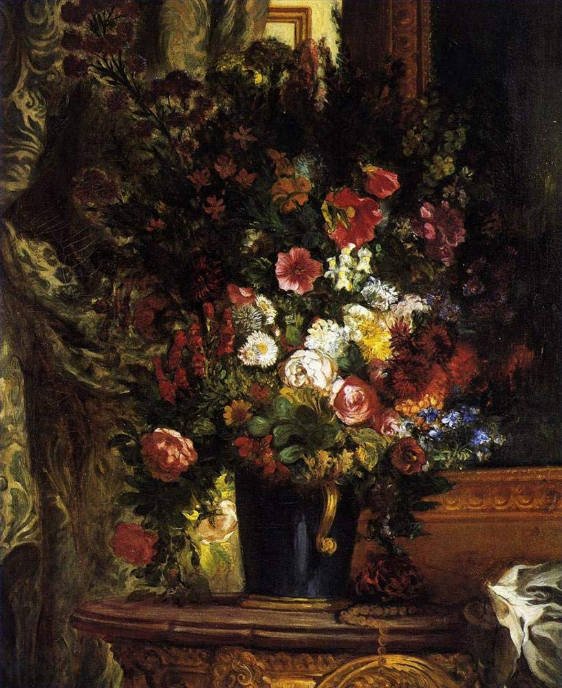 手描き-キャンバスの油絵 - A Vase of フラワーペインティング on a Console ロマンチック Eugene Delacroix 芸術 作品 洋画 ウォールアートデコレーション -サイズ09 B07HHVL6D7  30 x 40 インチ