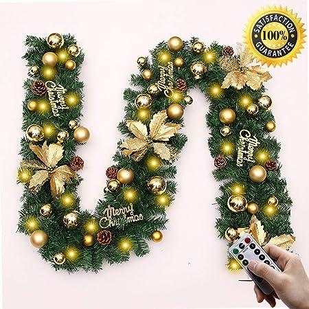 Viaje Guirnalda de la Navidad Decoraciones, 2,7 M chimeneas Escaleras decorado guirnaldas 8 Modo de la guirnalda de luces LED iluminado Chucherías bola de la flor del árbol de Navidad festiva deacute;: