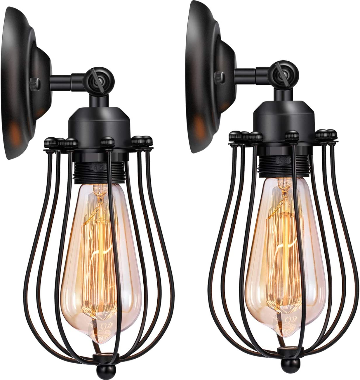 Wire Cage Wall Sconce Licperron Adjustable Industrial Wall Sconce 2 Pack Vintage Style Bedroom Garage Porch Mirror - -
